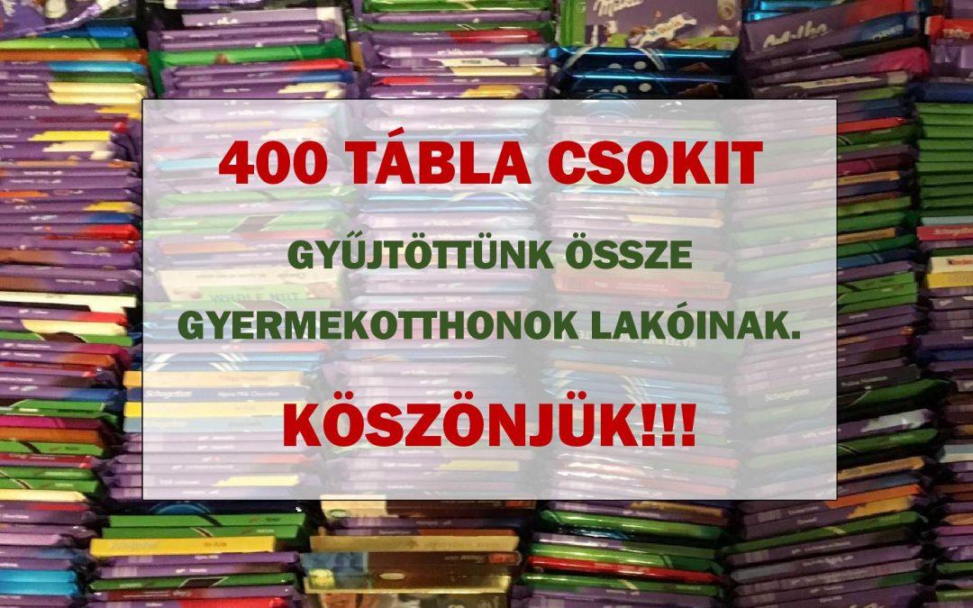 400 tábla csokoládét gyűjtöttünk!