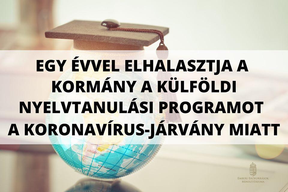 Külföldi Nyelvtanulási Program elhalasztása